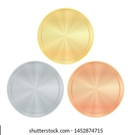 Vector set of blank, round with centric circles, patterns of gold, silver, bronze for coins, seals, money or medals