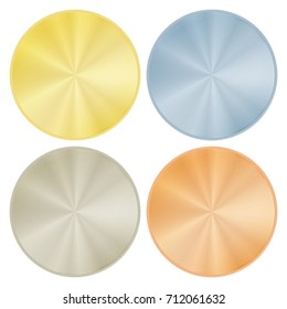vector set of blank round medals made of gold platinum silver bronze metal