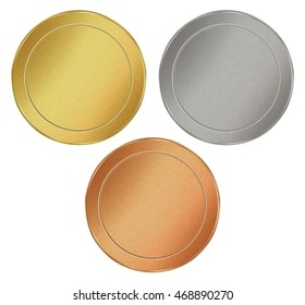 vector set of blank round texture tokens of gold, silver, bronze, which can be used as medals, coins, stamps