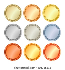 Vector set of blank templates of different types of gold, platinum, silver, bronze, copper, which can be used as labels, buttons, coins, medals