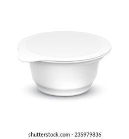 Vector Set of Blank White Packaging Container for Yogurt, Ice Cream or Dessert