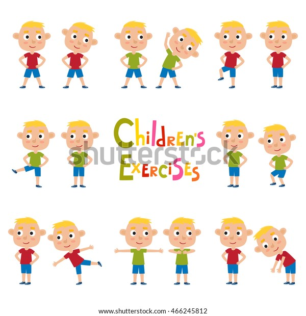 Vector Set Blonde Boys Exercises Poses Stock Vector