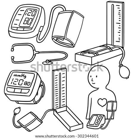 Vector Set Blood Pressure Monitor Stock Vector Royalty Free