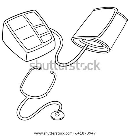 Vector Set Blood Pressure Monitor Stethoscope Stock Vector Royalty
