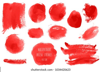 Vector set of bloody red, pink watercolor hand painted texture backgrounds isolated on white. Abstract collection of acrylic dry brush strokes, stains, spots, blots. Grunge makeup frame, fluid ink art