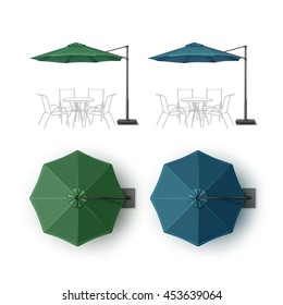 Vector Set of Blue Green Blank Patio Outdoor Beach Cafe Bar Pub Lounge Restaurant Round Umbrella Parasol for Branding Top Side View Mock Up Close Isolated on White Background