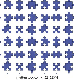 Vector Set of Blue Pazzle Isolated on White Background. Seamless Jigsaw Pattern