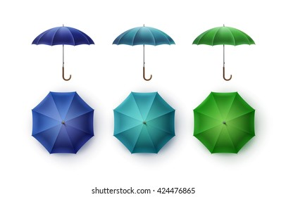 Vector Set of Blue Turquoise Green Blank Classic Opened Round Rain Umbrella Parasol Sunshade Top Front Side View Mock up Close up Isolated on White Background