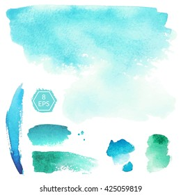 Vector. Set of blue and turquoise watercolor blots isolated on white background. Watercolor blots for your design, logo, emblem, banner. Set of beautiful vector watercolor blots.
