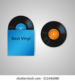 Vector set of blue vinyl cover and two vinyl records with blue and orange label