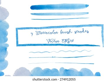 Vector set of blue watercolor brush strokes