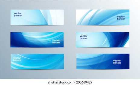 vector set of blue wavy banners