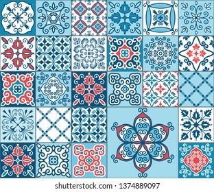 Vector set of blue-white with red tiles in Oriental style. Seamless patchwork pattern for printing on fabrics, packaging, wallpaper, ceramic tiles. Decorative texture for background design.