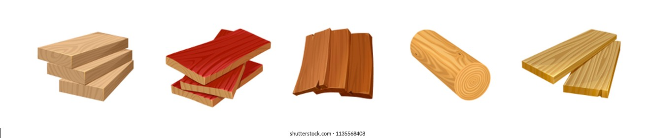 vector set of Board, woods, floor Board, timber, block, Village objects,