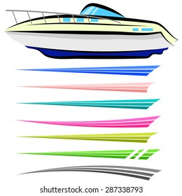 Vector Set of Boat Graphics Isolated on White Background