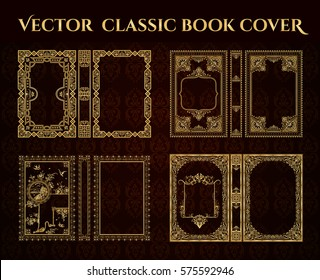 Vector set of book covers . Decorative vintage frame or border to be printed on the covers of books. Format - standard. Color can be changed in a few mouse clicks.