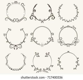 Vector set of border circle frame - vintage style