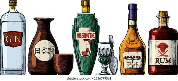 "Vector set of bottles of alcohol in ink hand drawn style. Distilled beverage. Gin, sake, absinthe, brandy, rum. inscription on the bottle in Japanese: nihonshu (日本酒, ""Japanese liquor"")"