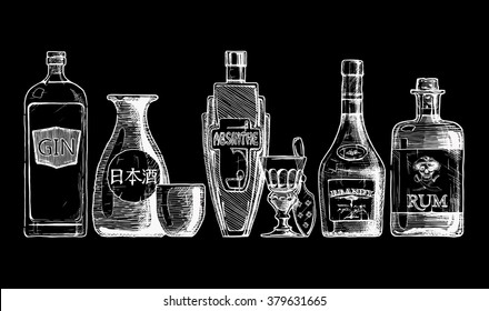 Vector set of bottles of alcohol in ink hand drawn style. isolated on black. Distilled beverage. Gin, sake, absinthe, brandy, rum.