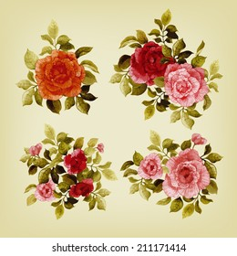 Vector set of bouquets of roses, watercolor, can be used as greeting card, invitation card for wedding, birthday and other holiday and  summer background