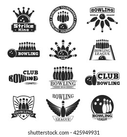 Vector set of bowling logos, bowling logo emblems and bowling logo design elements