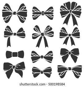 Vector set of  bows silhouettes