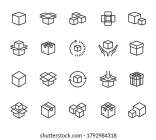 Vector set of box line icons. Contains icons packaging, product, open box, parcel, product loading, delivery time, product return and more. Pixel perfect.