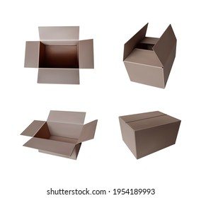 Vector set of boxes, simple standard boxes isolated on white background, 3D illustrations.