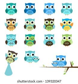 Vector Set of Boy Baby Shower Owls