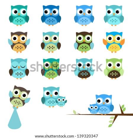 Vector Set Boy Baby Shower Owls Stock Vector Royalty Free