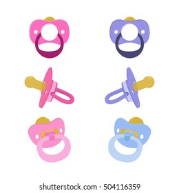 Vector set of boy and girl pacifiers. Side, front view.