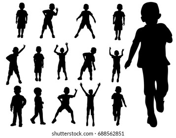 Vector,  set boy playing silhouette