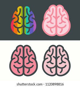 Vector set of brains icon. The brain is the color of the rainbow and the pink brain.
