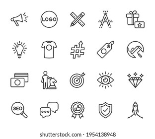 Vector set of brand line icons. Contains icons corporate identity, logo, name, mission, vision, advertising, values, strategy, rebranding and more. Pixel perfect.