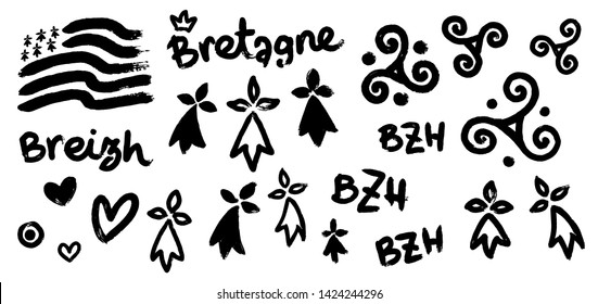 Vector set of breton hand-drawn symbols in grunge style: Gwen-ha-du (black and white flag of Brittany), doodle triskels, line-art hermines, Bretagne, Breizh and BZH letterings.