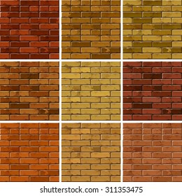Vector Set of Brick Seamless Textures Patterns Wall Backgrounds