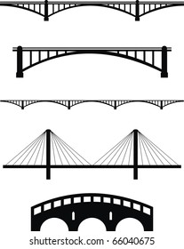 Vector  set of bridge black silhouettes - isolated  illustration on white background