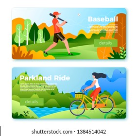 Vector set of bright banner templates with baseball man and girl on bike. Forest, river and mountains on soft background. With place for your text.