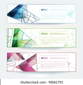 vector set of bright cards with colorful glass prisms. eps10