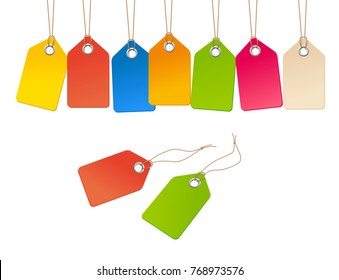 vector set of bright colored price tags on a cord isolated on a white background.