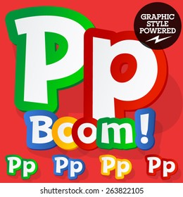 Vector set of bright colorful alphabet for children. Playful sticker font. Letter P