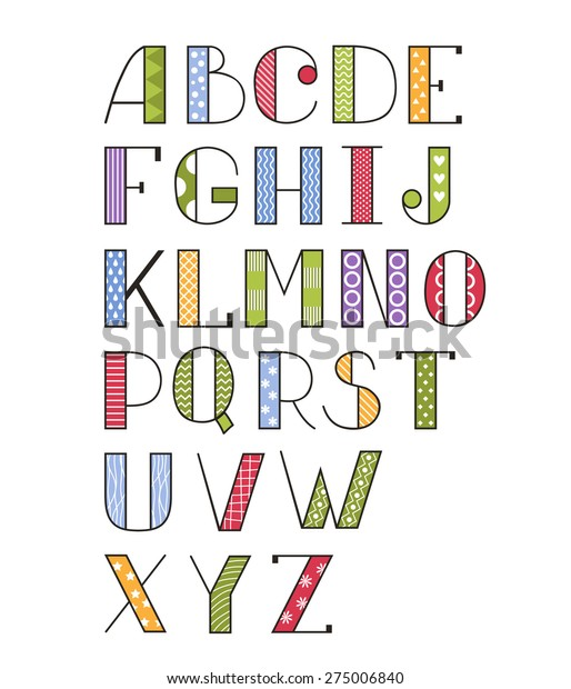 Vector Set Bright Different Letters Stylish Stock Vector