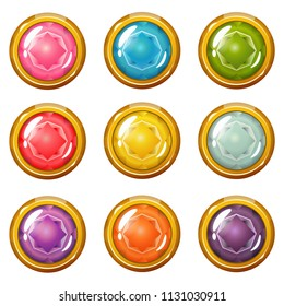 Vector set of bright golden-plated glossy crystal buttons for a game user interface or other design works