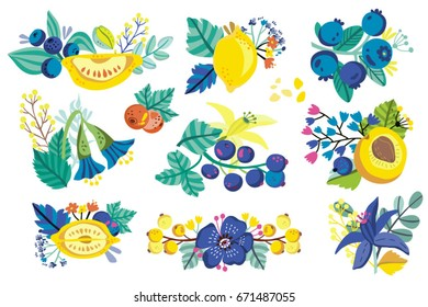 Vector set of bright  graphics. Fruits, berries and beautiful composition.