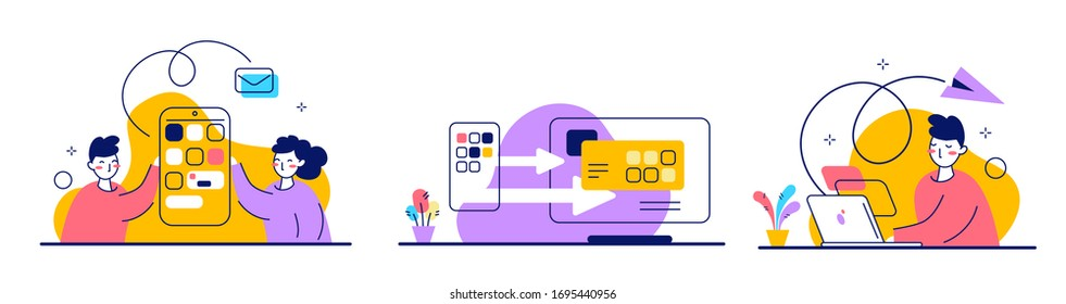 Vector set of bright illustration of people with smartphone and laptop on white color background. Man and woman team place work at home. Flat line art style design of work people for web, sale banner