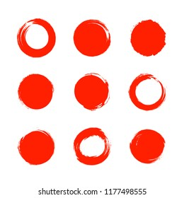 Vector Set of Bright Red Circles, Japanese Brushes Collection Isolated on White Background.