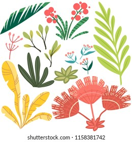 Vector set of bright stylized floral elements. Branches, leaves and berries for design