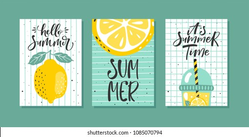 Vector set of bright summer cards. Posters with lemon, lemon slice, lemonade and hand written text.