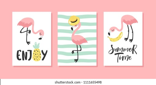 Vector set of bright summer cards with flamingo and hand written text.