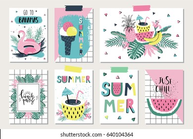 Vector set of bright summer cards. Beautiful posters with flamingo, watermelon, ice cream, hello and hand written text.